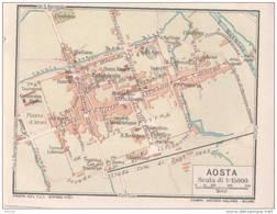 AOSTA - PIEMONTE, BELLA PIANTA DELLA CITTA' DEL*1916*, CARTA, A COLORI, Spedizione = 1 Euro !! - Stampe & Incisioni