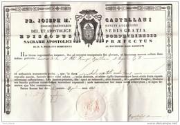 Lettre D'indulgence Sur Parchemin - Pièce Signée Par L'évêque De Porphyrie Au Liban Giuseppe Maria Castellani, O.S.A. † - Autographs