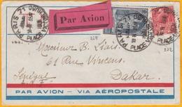 1931 - Enveloppe Par Avion Aéropostale De Paris Vers Dakar, Sénégal, Ligne Mermoz, Affrt 3 F 50 Expo Coloniale Et Reims - Poststempel (Briefe)