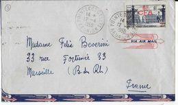 LA REUNION - 1950 - YT 301 SEUL Sur LETTRE Par AVION De POINTE DES GALETS  => MARSEILLE - Reunion Island (1852-1975)