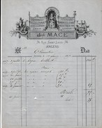 """1869 - ANGERS (49) - """"A LA JUSTICE"""" - Orfèvrerie, Bijouterie, Pendules , Gemmes - Joseph MACE - Historische Dokumente"""