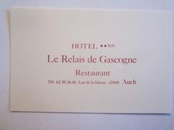 Vieux Papiers Carte De Visite Hôtel Le Relai De Gascogne 32 Gers Auch Avenue De La Marne - Cartes De Visite