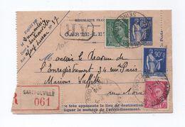 1939 - CARTE LETTRE TYPE PAIX RECOMMANDEE De SARTROUVILLE - MERCURE - 1921-1960: Période Moderne