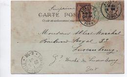 1901 - CP D'AUXERRE (YONNE) Pour Le LUXEMBOURG - TYPE SAGE + BLANC - Marcophilie (Lettres)