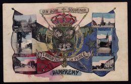 UN BON SOUVENIR DE DAMPREMY - Colorée Main - édit. Marcovici -- RARE !! Vues Damprémy Et Albert I Et Famille - Charleroi