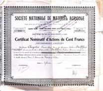 """Lot De 6 Certificats D'Actions Nominatives De 100 Francs  """"Société Nationale De Matériel Agricole """" - Agriculture"""