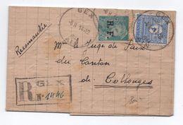 1944 - LETTRE RECOMMANDEE De GEX (AIN) Avec ARC DE TRIOMPHE + MERCURE RF - Postmark Collection (Covers)