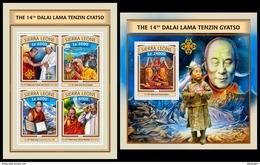 SIERRA LEONE 2016 - Dalai Lama - Mi 7798-7801 + B1092 - Buddhism