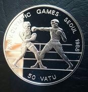 "VANUATU 50 VATU 1988 SILVER PROOF ""Olympics Games 1988"" Free Shipping Via Registered Air Mail - Vanuatu"