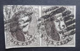 BELGIE  1861     Nr. 10   Horizontaal Paar   P  24  - 8 Baren     CW 25,00 - 1858-1862 Medallions (9/12)