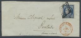 PARIS Oblitération Grille Cachet à Date Rouge BUREAU CENTRAL (60) Sur Devant De Lettre Ind 15 - 1849-1876: Classic Period