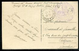 """France - Carte Postale En Franchise Militaire Pour Avignon En 1939 , Cachet """" Poste Aux Armées N° 2049 """" - Ref D13 - Marcophilie (Lettres)"""