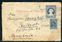 Chili - Entier Postal ( Demi Carte Lettre ) De Santiago Pour Stuttgart En 1901 - Ref D23 - Chili