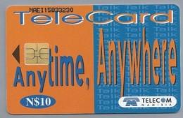 NA.- TELECARD. Any Time Anywhere. TELECOM NAMIBIA. N$10. Namibië. 2 Scans - Namibia