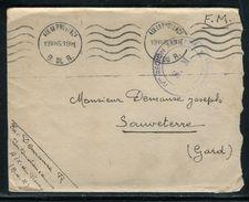 France - Enveloppe En FM De Aix En Provence Pour Sauveterre En 1945 - Ref D27 - 2. Weltkrieg 1939-1945
