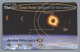 Telefoonkaart. Setarnet. The Last Total Solar Eclipse Of The Century. Aruba February 26, 1998. 2 Scans. - Aruba