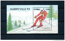 Cuba 1990 1992 Albertsville Winter Olympic Games Sports Downhill Skiing Slalom Sporter People S/S Stamp MNH Michel BL119 - Cuba