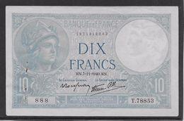 France 10 Francs Minerve - 7-11-1940 - Fayette N°7-19 - SUP - 1871-1952 Antichi Franchi Circolanti Nel XX Secolo