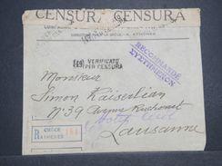 GRECE - Enveloppe En Recommandé + Contrôle Postal, De Athènes Pour La Suisse En 1917 , Timbres Au Dos Enlevés -  L 10456 - Grecia