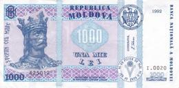BILLETE DE MOLDAVIA DE 1000 LEI DEL AÑO 1992 EN CALIDAD EBC (XF)  (BANKNOTE) - Moldova