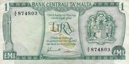 BILLETE DE MALTA DE 1 LIRA DEL AÑO 1967 (BANKNOTE) - Malta