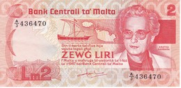 BILLETE DE MALTA DE 2 LIRAS DEL AÑO 1986 EN CALIDAD EBC (XF) (BANKNOTE) - Malta