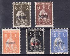 PORTUGAL- AÇORES.1923-26.LOTE  TIPO CERES   5 SELLOS DIFERENTES. NUEVOS  . CECI 2 Nº 153 - 1910-... República