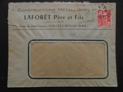 """LETTRE à ENTETE """" CONSTRUCTIONS LAFORET """" De PARAY LE MONIAL / AFFRANCHISSEMENT GANDON - Marcophilie (Lettres)"""