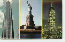 ETATS UNIS NEW YORK STATUE DE LA LIBERTE AVEC RCA BUILDING ET L'EMPIRE STATE BUILDING - Statue De La Liberté