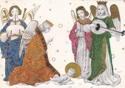 BIGLIETTO DI AUGURI CON I ANGELI  E GESU' BAMBINO - DI BUON NATALE E FELICE CAPODANNO - DA COLLEZIONE - Gesù Bambino