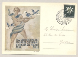 Schweiz - 1944 - 10c Pro Juventute On Tag De Briefmarke Postcard - Briefe U. Dokumente