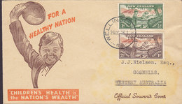 New Zealand Official Souvenir FDC Cover 1946 Childrens Health Nation's Wealth Complete Set !! - FDC