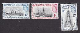 Falkland Islands, Scott #151-153, Used, Falkland Island Battle Memorial, Issued 1964 - Falkland