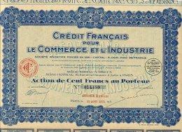 CREDIT FRANCAIS POUR LE COMMERCE ET L'INDUSTRIE 1931 - Banca & Assicurazione