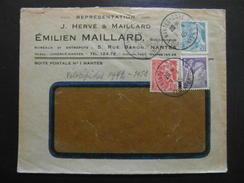 """LETTRE à ENTETE """" EMILIEN MAILLARD """" De NANTES LOIRE / AFFRANCHISSEMENT MERCURE IRIS - 1921-1960: Modern Period"""