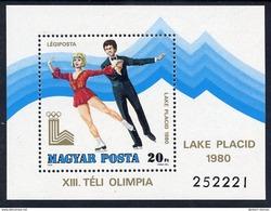 HUNGARY 1979 Winter Olympics Block MNH / **.  Michel Block 140 - Blocks & Sheetlets