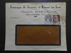 """LETTRE à ENTETE """" FROMAGES DE GRUYERE BEURRE BAILLY """" De BELLEGARDE AIN / AFFRANCHISSEMENT GANDON CHAINE BRISÉE - 1921-1960: Période Moderne"""