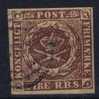 Denmark: Mi 1  II C  Kastanienbraun Obl./Gestempelt/used - 1851-63 (Frederik VII)