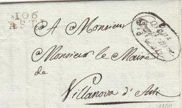 France Italia Dept Conquis Marengo Entier 106 ASTI Sardinia Pour Villanova D'Asti 1809 (q10) - Storia Postale