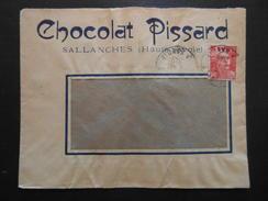 """LETTRE à ENTETE """" CHOCOLAT PISSARD """" De SALLANCHES SAVOIE / AFFRANCHISSEMENT GANDON - 1921-1960: Période Moderne"""