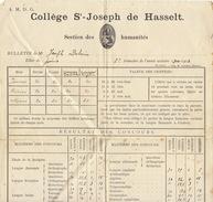 Bulletin Du Collège Saint Joseph D'hasselt Pour Joseph Dubois 1901 - Manuscripts