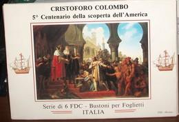 SERIE-DI-6-FDC-BUSTONI-PER-FOGLIETTI-ITALIA-CRISTOFORO-COLOMBO-5-CENTENARIO GENOCA-CP - 6. 1946-.. Repubblica