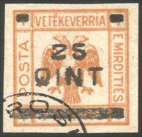 120 Albanie 1921 Eagle Aigle Surcharge 25Q Sur 1 FR (ALB-199) - Albanie