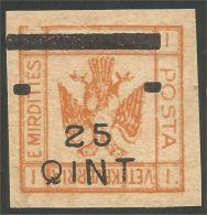 120 Albanie 1921 Eagle Aigle Surcharge 25Q Sur 1 FR MH * Neuf CH (ALB-209) - Albanie