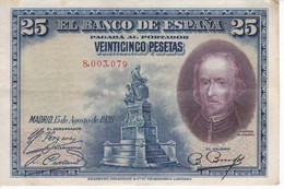 BILLETE DE ESPAÑA DE 25 PTAS DEL AÑO 1928 SIN SERIE CALIDAD MBC (VF)  (BANKNOTE) - [ 1] …-1931 : Primeros Billetes (Banco De España)