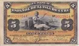 BILLETE DEL BANCO ESPAÑOL EN CUBA DE 5 PESOS DEL AÑO 1896 CON SELLO PLATA (BANKNOTE) - [ 1] …-1931 : First Banknotes (Banco De España)