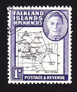 Falkland Islands Dependencies, Scott #1L2, Used, Map, Issued 1946 - Falklandeilanden