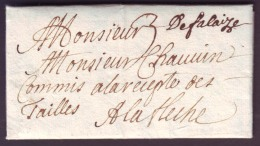 """CALVADOS - LAC - """"De Falaise"""" Manuscrit L9 (SD) + Taxe 3 Pour La Fleche (71) - Postmark Collection (Covers)"""