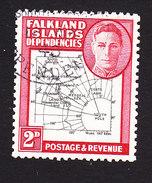 Falkland Islands Dependencies, Scott #1L3, Used, Map, Issued 1946 - Falkland Islands