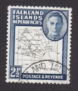 Falkland Islands Dependencies, Scott #1L13, Used, Map, Issued 1949 - Falklandeilanden